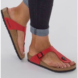 Birkenstock Leather Gizeh Sandals Sz 39 In Red